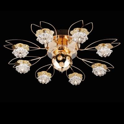 Люстра Lamplandia 8985-10 AtlantaПотолочные<br>Современная модель с металлическим основанием цвета золото. Плафоны выполнены из прозрачного стекла в виде роз. Управление осуществляется при помощи пульта ДУ, с имеет несколько режимов регулировки мощности,движущийся декоративный шар в центре.<br><br>Установка на натяжной потолок: Ограничено<br>S освещ. до, м2: 10<br>Крепление: Планка<br>Тип лампы: галогенная / LED-светодиодная<br>Тип цоколя: G4<br>Количество ламп: 10+LED<br>MAX мощность ламп, Вт: 20<br>Диаметр, мм мм: 700<br>Высота, мм: 190<br>Цвет арматуры: золотой