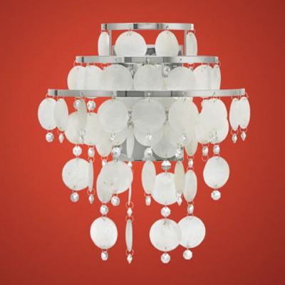 Eglo CHIPSY 90034 Настенно-потолочный светильникХрустальные<br>Австрийское качество модели светильника Eglo 90034 не оставит равнодушным каждого купившего! Перламутровые лепестки из натуральной морской раковины, Кристаллы (хрусталь Пр-во Египет Asfour), Хромированный глянцевый ажурный корпус, Класс изоляции 2 (двойная изоляция), IP 20, освещенность 806 lm ,L=300Н=370,1X60W,E27.<br><br>S освещ. до, м2: 4<br>Тип лампы: накаливания / энергосбережения / LED-светодиодная<br>Тип цоколя: E27<br>Количество ламп: 1<br>MAX мощность ламп, Вт: 2<br>Размеры основания, мм: 0<br>Длина, мм: 300<br>Расстояние от стены, мм: 160<br>Высота, мм: 370<br>Оттенок (цвет): жемчужный, прозрачный<br>Цвет арматуры: серебристый<br>Общая мощность, Вт: 1X60W