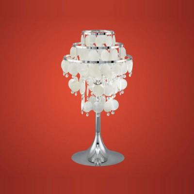 Eglo CHIPSY 90035 Настольная лампаХрустальные<br>Австрийское качество модели светильника Eglo 90035 не оставит равнодушным каждого купившего! Перламутровые лепестки из натуральной морской раковины, Кристаллы (хрусталь Пр-во Египет Asfour), Хромированный глянцевый ажурный корпус, Класс изоляции 2 (двойная изоляция), IP 20, освещенность 806 lm ,Н=575D=300,1X100W,E27.<br><br>S освещ. до, м2: 6<br>Тип лампы: накал-я - энергосбер-я<br>Тип цоколя: E27<br>Цвет арматуры: серебристый<br>Количество ламп: 1<br>Диаметр, мм мм: 300<br>Размеры основания, мм: 240<br>Высота, мм: 575<br>Оттенок (цвет): жемчужный, прозрачный<br>MAX мощность ламп, Вт: 2<br>Общая мощность, Вт: 1X60W