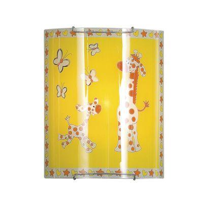 Citilux Жирафы CL921001 Светильник настенный браДля детской<br>Настенно потолочный светильник Citilux (Ситилюкс) CL921001  подходит как для установки в вертикальном положении - на стены, так и для установки в горизонтальном - на потолок. Для установки настенно потолочных светильников на натяжной потолок необходимо<br><br>S освещ. до, м2: 6<br>Тип лампы: накаливания / энергосбережения / LED-светодиодная<br>Тип цоколя: E27<br>Количество ламп: 1<br>Ширина, мм: 200<br>MAX мощность ламп, Вт: 100<br>Размеры: Стеклянный рассеиватель, Высота 25см, Ширина 20см, Глубина 9см.<br>Длина, мм: 250<br>Расстояние от стены, мм: 90<br>Поверхность арматуры: глянцевый<br>Цвет арматуры: серебристый