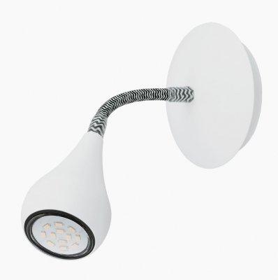 Eglo PERO 92745 Светильник поворотный спотГибкие<br><br><br>Тип лампы: галогенная / LED-светодиодная<br>Тип цоколя: GU10<br>MAX мощность ламп, Вт: 5<br>Диаметр, мм мм: 110<br>Размеры основания, мм: 0<br>Высота, мм: 255<br>Цвет арматуры: белый<br>Общая мощность, Вт: 1X5W