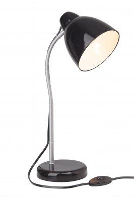 Светильник настольный Brilliant 92855/06 LoneОфисные<br><br><br>S освещ. до, м2: 2<br>Тип товара: Настольная лампа<br>Тип лампы: накал-я - энергосбер-я<br>Тип цоколя: E14<br>Количество ламп: 1<br>MAX мощность ламп, Вт: 40<br>Высота, мм: 380<br>Цвет арматуры: серебристый