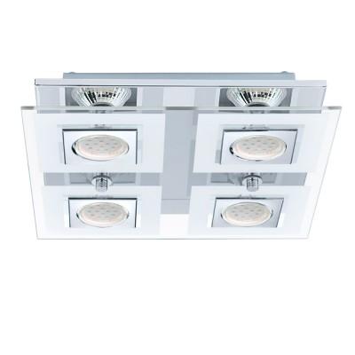 Eglo CABO 92876 Настенно-потолочный светильникПотолочные<br>Компания «Светодом» предлагает широкий ассортимент люстр от известных производителей. Представленные в нашем каталоге товары выполнены из современных материалов и обладают отличным качеством. Благодаря широкому ассортименту Вы сможете найти у нас люстру под любой интерьер. Мы предлагаем как классические варианты, так и современные модели, отличающиеся лаконичностью и простотой форм.  Стильная люстра Eglo 92876 станет украшением любого дома. Эта модель от известного производителя не оставит равнодушным ценителей красивых и оригинальных предметов интерьера. Люстра Eglo 92876 обеспечит равномерное распределение света по всей комнате. При выборе обратите внимание на характеристики, позволяющие приобрести наиболее подходящую модель. Купить понравившуюся люстру по доступной цене Вы можете в интернет-магазине «Светодом».<br><br>Установка на натяжной потолок: Да<br>S освещ. до, м2: 5<br>Крепление: Планка<br>Цветовая t, К: 3000 (теплый белый)<br>Тип цоколя: GU10<br>Количество ламп: 4<br>Ширина, мм: 290<br>MAX мощность ламп, Вт: 3<br>Размеры основания, мм: 0<br>Длина, мм: 290<br>Высота, мм: 70<br>Оттенок (цвет): белый, прозрачный<br>Цвет арматуры: серебристый<br>Общая мощность, Вт: 4X3W