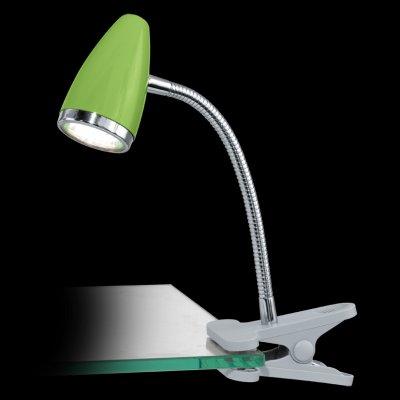 Eglo RICCIO 1 92928 Светильник поворотный спотНа прищепке<br>Настольная лампа – это не просто источник дополнительного освещения, но и оригинальный элемент декора. Его можно установить в спальне, гостиной, кабинете и других комнатах. Интернет-магазин «Светодом» предлагает настольные лампы разных стилей по доступным ценам. Благодаря большому ассортименту Вы обязательно найдете в нашем каталоге именно ту модель, которую искали.   Настольная лампа Eglo 92928 – прекрасный вариант для завершения интерьера. Ее можно включить одновременно с люстрой для более яркого освещения или без нее для создания уютной атмосферы, настраивающей на отдых.   Купить настольную лампу Eglo 92928 Вы можете с помощью виртуальной «Корзины» или по контактным номерам, указанным на сайте.<br><br>Цветовая t, К: 3000 (теплый белый)<br>Тип лампы: LED - светодиодная<br>Тип цоколя: GU10<br>Размеры основания, мм: 0<br>Длина, мм: 180<br>Высота, мм: 330<br>Оттенок (цвет): зеленый<br>Цвет арматуры: серебристый<br>Общая мощность, Вт: 1X3W
