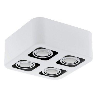 Eglo TORENO 93013 Настенно-потолочные светильникиКарданные<br><br><br>Цветовая t, К: 3000 (теплый белый)<br>Тип лампы: галогенная/LED<br>Тип цоколя: GU10<br>Количество ламп: 4<br>Ширина, мм: 240<br>MAX мощность ламп, Вт: 5<br>Размеры основания, мм: 0<br>Длина, мм: 240<br>Высота, мм: 95<br>Цвет арматуры: белый, хром<br>Общая мощность, Вт: 4X5W