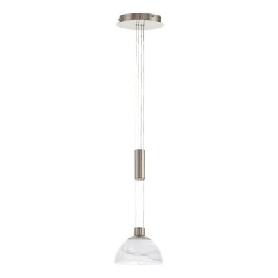 Eglo MONTEFIO 93466 Светильник подвеснойОдиночные<br><br><br>Тип товара: Светильник подвесной<br>Цветовая t, К: 3000 (теплый белый)<br>Тип лампы: LED - светодиодная<br>Тип цоколя: LED<br>Количество ламп: 1<br>MAX мощность ламп, Вт: 6<br>Диаметр, мм мм: 185<br>Размеры основания, мм: 0<br>Высота, мм: 1100<br>Оттенок (цвет): белый<br>Цвет арматуры: серый<br>Общая мощность, Вт: 1X6W