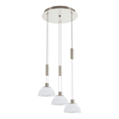 Eglo MONTEFIO 93467 Светильник подвеснойТройные<br><br><br>Тип товара: Светильник подвесной<br>Цветовая t, К: 3000 (теплый белый)<br>Тип лампы: LED - светодиодная<br>Тип цоколя: LED<br>Количество ламп: 3<br>MAX мощность ламп, Вт: 6<br>Диаметр, мм мм: 420<br>Размеры основания, мм: 0<br>Высота, мм: 1100<br>Оттенок (цвет): белый<br>Цвет арматуры: серый<br>Общая мощность, Вт: 3X6W