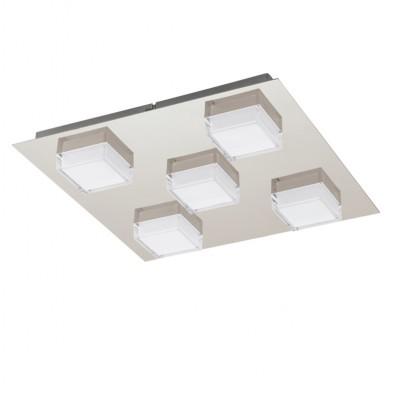 Eglo MASIOLA 93509 Настенно-потолочный светильникКвадратные<br><br><br>Установка на натяжной потолок: Да<br>S освещ. до, м2: 5<br>Крепление: Планка<br>Цветовая t, К: 3000 (теплый белый)<br>Тип лампы: LED - светодиодная<br>Тип цоколя: LED<br>Цвет арматуры: серый<br>Количество ламп: 5<br>Ширина, мм: 370<br>Размеры основания, мм: 0<br>Длина, мм: 370<br>Расстояние от стены, мм: 55<br>MAX мощность ламп, Вт: 2,5<br>Общая мощность, Вт: 5X2,5W