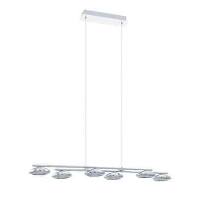 Eglo TARUGA 93655 Светильник подвеснойДлинные 4+<br><br><br>Тип товара: Светильник подвесной<br>Цветовая t, К: 3000 (теплый белый)<br>Тип лампы: LED<br>Тип цоколя: LED<br>Количество ламп: 6<br>Ширина, мм: 235<br>MAX мощность ламп, Вт: 4.5<br>Размеры основания, мм: 0<br>Длина, мм: 975<br>Высота, мм: 1100<br>Оттенок (цвет): белый<br>Цвет арматуры: серебристый<br>Общая мощность, Вт: 6X4,5W