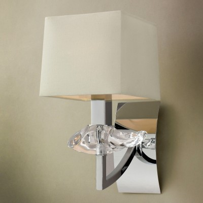 Светильник Mantra 936 AKIRAклассические бра<br><br><br>S освещ. до, м2: 2<br>Тип лампы: накаливания / энергосбережения / LED-светодиодная<br>Тип цоколя: E14<br>Цвет арматуры: серебристый хром<br>Количество ламп: 1<br>Ширина, мм: 140<br>Размеры: W 140 H 280 Выступ<br>Длина, мм: 190<br>Высота, мм: 280<br>Оттенок (цвет): кремовый<br>MAX мощность ламп, Вт: 40