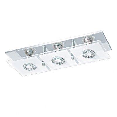 Eglo RONCATO 93782 Настенно-потолочные светильникиПрямоугольные<br><br><br>Тип товара: Настенно-потолочные светильники<br>Скидка, %: 17<br>Тип лампы: LED - светодиодная<br>Тип цоколя: GU10<br>Количество ламп: 3<br>Ширина, мм: 135<br>MAX мощность ламп, Вт: 3<br>Размеры основания, мм: 0<br>Длина, мм: 415<br>Высота, мм: 85<br>Оттенок (цвет): прозрачный, матовый<br>Цвет арматуры: серебристый<br>Общая мощность, Вт: 3X3W