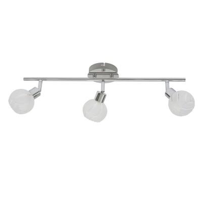 Светильник спот Lamplandia 93849 PrimaТройные<br>Стильная модель спотов выполнена в виде хромированного основания и круглых плафонов из стекла  матового цвета с прозрачными вставками. Замечательно подходит для освещения прихожих.<br><br>S освещ. до, м2: 8<br>Крепление: настенный<br>Тип лампы: галогенная / LED-светодиодная<br>Тип цоколя: G9<br>Количество ламп: 3<br>Ширина, мм: 110<br>MAX мощность ламп, Вт: 40<br>Длина, мм: 360<br>Высота, мм: 140<br>Цвет арматуры: серый