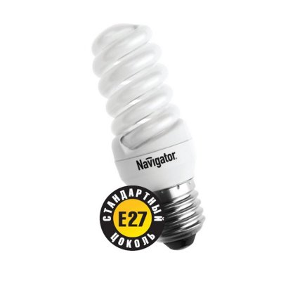 Лампа энергосберегающая Navigator 94 091 NCL-SH-11-840-E27Спиральные<br>Navigator NCL-SF10 – компактная люминесцентная энергосберегающая лампа. Колба лампы представляет собой полную спираль, изготовленную из люминесцентной трубки диаметром 7 мм (T2). При изготовлении трубки используется высококачественный трехполосный люминофор, что обеспечивает превосходное качество света и высокую светоотдачу ламп. Лампа NCL-SF10 мощностью 9, 11 и 15 Вт поставляется в трех цветовых температурах: 2700 К, 4000 К и 6500 К, а лампа NCL-SF10 мощностью 7 Вт только в двух: 2700 К и 4000 К. Лампы NCL-SF10 7 Вт и 9 Вт предлагаются с цоколем Е14, NCL-SF10 11 и 15 Вт с двумя типоразмерами цоколя: Е14 и Е27. Лампы Navigator NCL-SF10 не предназначены для использования с регуляторами светового потока (диммерами).  Лампа NCL-SF10 мощностью 20 Вт поставляется в трех цветовых температурах: 2700 К, 4000 К и 6500 К с двумя типоразмерами цоколя: Е14 и Е27. Лампы Navigator NCL-SF10 не предназначены для использования с регуляторами светового потока (диммерами).  Срок службы ламп NCL-SF10 составляет 10000 часов. Люминесцентные трубки ламп Navigator NCL-SF10-15 изготовлены с использованием «амальгамной технологии».<br><br>Цветовая t, К: CW - холодный белый 4000 К<br>Тип лампы: Энергосберегающая<br>Тип цоколя: E27<br>MAX мощность ламп, Вт: 11<br>Диаметр, мм мм: 32<br>Высота, мм: 104