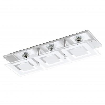 Eglo ALMANA 94225 Светодиодная лентаПрямоугольные<br>Настенно-потолочные светильники – это универсальные осветительные варианты, которые подходят для вертикального и горизонтального монтажа. В интернет-магазине «Светодом» Вы можете приобрести подобные модели по выгодной стоимости. В нашем каталоге представлены как бюджетные варианты, так и эксклюзивные изделия от производителей, которые уже давно заслужили доверие дизайнеров и простых покупателей.  Настенно-потолочный светильник Eglo 94225 станет прекрасным дополнением к основному освещению. Благодаря качественному исполнению и применению современных технологий при производстве эта модель будет радовать Вас своим привлекательным внешним видом долгое время. Приобрести настенно-потолочный светильник Eglo 94225 можно, находясь в любой точке России.<br><br>S освещ. до, м2: 4<br>Тип цоколя: GU10<br>Количество ламп: 3<br>MAX мощность ламп, Вт: 3<br>Размеры основания, мм: 0<br>Длина, мм: 415<br>Расстояние от стены, мм: 85<br>Высота, мм: 130<br>Оттенок (цвет): белый, прозрачный<br>Цвет арматуры: серебристый<br>Общая мощность, Вт: 3X3W