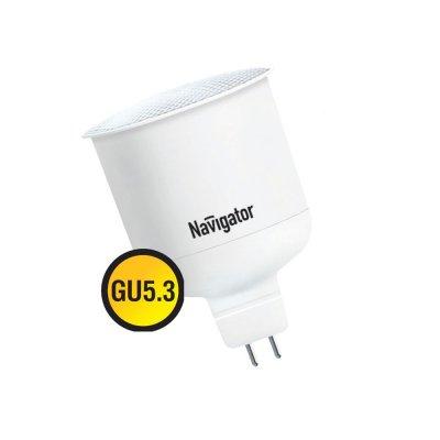 Энергосберегающая лампа Navigator 94 277 NCL-MR16-5-230-830-GU5.3В виде шарика<br>Ресурс 8000 ч<br><br>Тип товара: лампа освещения<br>Цветовая t, К: WW - теплый белый 2700-3000 К<br>Тип лампы: Энергосберегающая<br>Тип цоколя: GX5.3<br>MAX мощность ламп, Вт: 5<br>Диаметр, мм мм: 50