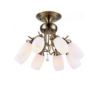 Люстра Brilliant 94304/31 VitaПотолочные<br><br><br>S освещ. до, м2: 32<br>Тип товара: Люстра<br>Тип лампы: накаливания / энергосбережения / LED-светодиодная<br>Тип цоколя: E14<br>Количество ламп: 8<br>MAX мощность ламп, Вт: 60<br>Диаметр, мм мм: 460<br>Высота, мм: 340<br>Цвет арматуры: бронза
