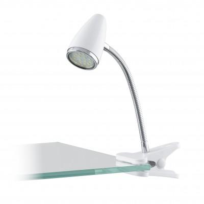 Eglo RICCIO 1 94329 Светильник поворотный спотНа прищепке<br>Настольная лампа – это не просто источник дополнительного освещения, но и оригинальный элемент декора. Его можно установить в спальне, гостиной, кабинете и других комнатах. Интернет-магазин «Светодом» предлагает настольные лампы разных стилей по доступным ценам. Благодаря большому ассортименту Вы обязательно найдете в нашем каталоге именно ту модель, которую искали.   Настольная лампа Eglo 94329 – прекрасный вариант для завершения интерьера. Ее можно включить одновременно с люстрой для более яркого освещения или без нее для создания уютной атмосферы, настраивающей на отдых.   Купить настольную лампу Eglo 94329 Вы можете с помощью виртуальной «Корзины» или по контактным номерам, указанным на сайте.<br><br>Тип цоколя: GU10<br>Размеры основания, мм: 0<br>Длина, мм: 180<br>Высота, мм: 330<br>Оттенок (цвет): белый, хром<br>Цвет арматуры: белый<br>Общая мощность, Вт: 1X3W