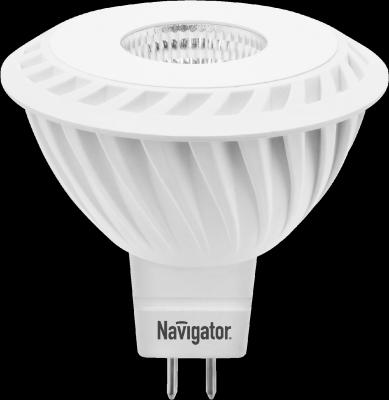 Светодиодная лампа Navigator 94 350 NLL-MR16-7-230-3K-GU5.3-60DЗеркальные MR16 - 5.3<br>Navigator NLL-MR(PAR)16-5(7)-60D – светодиодные энергосберегающие лампы направленного света.  Светодиодные лампы повторяют форму и размеры стандартных галогенных ламп MR16 и PAR16 и идеально подходят к любому светильнику, в котором используются данные типы ламп.   Высокоэффективные планарные светодиоды Epistar изготовленные по технологии Chip-On-Board. Ragt 80 75 лм/Вт  Цилиндрический радиатор, состоящий из композитного материала на основе алюминия и пластика, способствует более эффективному снижению температуры внутри лампы и, как следствие, увеличению ее срока службы  Высокоэффективный драйвер, построенный на интегральной микросхеме, обеспечивает стабильную работу при широком диапазоне входных напряжений (170–260 В)  Срок службы 30 000 часов<br><br>Цветовая t, К: WW - теплый белый 2700-3000 К<br>Тип лампы: LED - светодиодная<br>Тип цоколя: GU5.3 (MR16)<br>Диаметр, мм мм: 50<br>Высота, мм: 53<br>MAX мощность ламп, Вт: 7