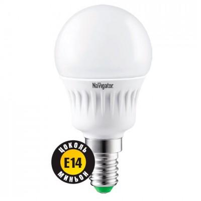 Лампа Navigator 94 468 NLL-G45-7-230-4K-E14В виде шарика<br>Navigator NLL-G45 – светодиодная энергосберегающая лампа общего освещения. Колба лампы шарообразная, матовая. Лампа NLL-G45 повторяет форму и размеры стандартных КЛЛ и ламп накаливания типа «шарик» и идеально подходит к любому светильнику, в котором используются данные типы ламп. В светодиодных лампах серии NLL-G45 применяются высокоэффективные планарные светодиоды Epistar, обеспечивающие эффективность до 85 лм/В т. При этом коэффициент цветопередачи ламп обеспечивается на уровне Ragt;82. Ассортимент светодиодных ламп серии NLL-G45 представлен цветовыми температурами излучаемого света – 2700 K и 4000 К. Диапазон рабочих температур окружающей среды от -40 до +40 ?С. Отсутствует мерцание и пульсация светового потока. Применение цилиндрического радиатора с увеличенной площадью рассеивания способствует снижению температуры внутри лампы и, как следствие, увеличению ее срока службы. Специальная конструкция лампы обеспечивает угол рассеивания света 270°. В лампах данной серии применяется высокоэффективный драйвер, построенный на интегральной микросхеме, обеспечивающий стабильную работу при широком диапазоне входных напряжений (176–264 В). Срок службы светодиодных ламп Navigator NLL-G45 составляет 40 000 часов.<br><br>Тип товара: Лампа светодиодная NLL LED<br>Скидка, %: 5<br>Цветовая t, К: CW - холодный белый 4000 К<br>Тип лампы: LED - светодиодная<br>Тип цоколя: E14<br>MAX мощность ламп, Вт: 7<br>Диаметр, мм мм: 45<br>Высота, мм: 78