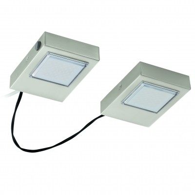 Eglo LAVAIO 94516 Кухонные светильникиДля кухни<br><br><br>Цветовая t, К: 3000 (теплый белый)<br>Тип цоколя: LED<br>Цвет арматуры: серебристый<br>Ширина, мм: 140<br>Размеры основания, мм: 0<br>Длина, мм: 100<br>Высота, мм: 30<br>Общая мощность, Вт: 2X3,7W