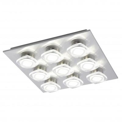 Eglo MARCHESI 94573 Настенно-потолочные светильникиКвадратные<br>Настенно-потолочные светильники – это универсальные осветительные варианты, которые подходят для вертикального и горизонтального монтажа. В интернет-магазине «Светодом» Вы можете приобрести подобные модели по выгодной стоимости. В нашем каталоге представлены как бюджетные варианты, так и эксклюзивные изделия от производителей, которые уже давно заслужили доверие дизайнеров и простых покупателей.  Настенно-потолочный светильник Eglo 94573 станет прекрасным дополнением к основному освещению. Благодаря качественному исполнению и применению современных технологий при производстве эта модель будет радовать Вас своим привлекательным внешним видом долгое время.  Приобрести настенно-потолочный светильник Eglo 94573 можно, находясь в любой точке России.<br><br>S освещ. до, м2: 16<br>Цветовая t, К: 3000 (теплый белый)<br>Тип цоколя: LED<br>Количество ламп: 9<br>Ширина, мм: 470<br>MAX мощность ламп, Вт: 4,5<br>Размеры основания, мм: 0<br>Длина, мм: 470<br>Высота, мм: 70<br>Оттенок (цвет): прозрачный, матовый<br>Цвет арматуры: серый<br>Общая мощность, Вт: 9X4,5W