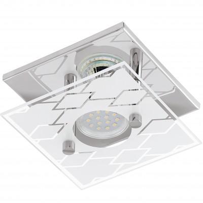 Eglo DOYET 94574 Настенно-потолочные светильникиДекоративные<br>Настенно-потолочные светильники – это универсальные осветительные варианты, которые подходят для вертикального и горизонтального монтажа. В интернет-магазине «Светодом» Вы можете приобрести подобные модели по выгодной стоимости. В нашем каталоге представлены как бюджетные варианты, так и эксклюзивные изделия от производителей, которые уже давно заслужили доверие дизайнеров и простых покупателей.  Настенно-потолочный светильник Eglo 94574 станет прекрасным дополнением к основному освещению. Благодаря качественному исполнению и применению современных технологий при производстве эта модель будет радовать Вас своим привлекательным внешним видом долгое время. Приобрести настенно-потолочный светильник Eglo 94574 можно, находясь в любой точке России.<br><br>S освещ. до, м2: 1<br>Тип цоколя: GU10<br>Количество ламп: 1<br>Ширина, мм: 135<br>MAX мощность ламп, Вт: 3<br>Размеры основания, мм: 0<br>Длина, мм: 135<br>Высота, мм: 85<br>Оттенок (цвет): белый, прозрачный<br>Цвет арматуры: серебристый<br>Общая мощность, Вт: 1X3W