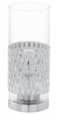 Eglo TORVISCO 94619 Настольная лампаСовременные настольные лампы модерн<br>Настольная лампа – это не просто источник дополнительного освещения, но и оригинальный элемент декора. Его можно установить в спальне, гостиной, кабинете и других комнатах. Интернет-магазин «Светодом» предлагает настольные лампы разных стилей по доступным ценам. Благодаря большому ассортименту Вы обязательно найдете в нашем каталоге именно ту модель, которую искали.   Настольная лампа Eglo 94619 – прекрасный вариант для завершения интерьера. Ее можно включить одновременно с люстрой для более яркого освещения или без нее для создания уютной атмосферы, настраивающей на отдых.   Купить настольную лампу Eglo 94619 Вы можете с помощью виртуальной «Корзины» или по контактным номерам, указанным на сайте.<br><br>Тип цоколя: E27<br>Цвет арматуры: серебристый<br>Диаметр, мм мм: 110<br>Размеры основания, мм: 0<br>Высота, мм: 275<br>Оттенок (цвет): прозрачный<br>Общая мощность, Вт: 1X60W