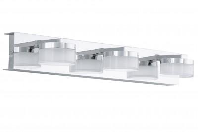 Eglo ROMENDO 94653 светильник для ванной комнаты и зеркалХай-тек<br><br><br>Цветовая t, К: 3000 (теплый белый)<br>Тип цоколя: LED<br>Цвет арматуры: серебристый<br>Размеры основания, мм: 0<br>Длина, мм: 450<br>Расстояние от стены, мм: 125<br>Высота, мм: 70<br>Оттенок (цвет): прозрачный, матовый<br>Общая мощность, Вт: 3X4,5W