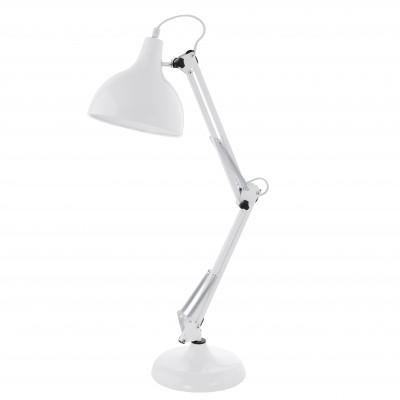 Eglo BORGILLIO 94699 Настольная лампаОфисные<br>Настольная лампа – это не просто источник дополнительного освещения, но и оригинальный элемент декора. Его можно установить в спальне, гостиной, кабинете и других комнатах. Интернет-магазин «Светодом» предлагает настольные лампы разных стилей по доступным ценам. Благодаря большому ассортименту Вы обязательно найдете в нашем каталоге именно ту модель, которую искали.   Настольная лампа Eglo 94699 – прекрасный вариант для завершения интерьера. Ее можно включить одновременно с люстрой для более яркого освещения или без нее для создания уютной атмосферы, настраивающей на отдых.   Купить настольную лампу Eglo 94699 Вы можете с помощью виртуальной «Корзины» или по контактным номерам, указанным на сайте.<br><br>Тип цоколя: E27<br>Ширина, мм: 190<br>Размеры основания, мм: 190<br>Длина, мм: 400<br>Высота, мм: 710<br>Цвет арматуры: белый<br>Общая мощность, Вт: 1X60W