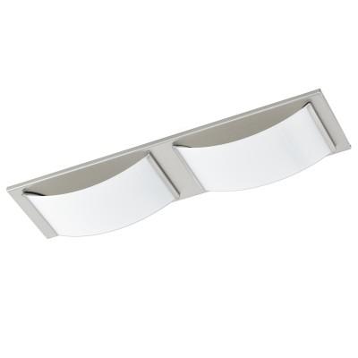 Eglo WASAO 1 94886 Светильник для ванной комнатыПрямоугольные<br>Светодиодный настенно-потолочный светильник WASAO 1, 2х5,4W (LED), 420х105, IP44, гальв. сталь, никель мат./стекло с покр., белый применяется преимущественно в домашнем освещении с использованием стандартных выключателей и переключателей для сетей 220V.<br><br>S освещ. до, м2: 4<br>Цветовая t, К: 3000<br>Тип лампы: LED - светодиодная<br>Тип цоколя: LED<br>Количество ламп: 2<br>Ширина, мм: 105<br>MAX мощность ламп, Вт: 5<br>Длина, мм: 420<br>Высота, мм: 60<br>Цвет арматуры: серебристый