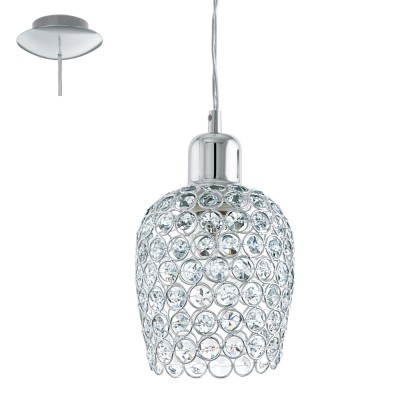 Eglo BONARES 1 94896 Подвесной светильникОдиночные<br>Подвес BONARES 1, 1x60W (E27),?130, сталь, хром/стекло, хрусталь, хром, прозрачный применяется преимущественно в домашнем освещении с использованием стандартных выключателей и переключателей для сетей 220V.<br><br>S освещ. до, м2: 3<br>Тип лампы: Накаливания / энергосбережения / светодиодная<br>Тип цоколя: E27<br>Количество ламп: 1<br>MAX мощность ламп, Вт: 60<br>Диаметр, мм мм: 130<br>Высота, мм: 1100<br>Цвет арматуры: серебристый хром