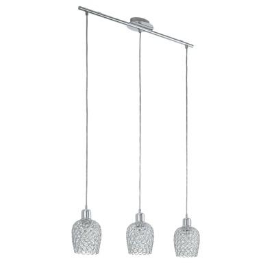 Eglo BONARES 1 94897 Подвесной светильникТройные<br>Подвес BONARES 1, 3x60W (E27), L745, сталь, хром/стекло, хрусталь, хром, прозрачный применяется преимущественно в домашнем освещении с использованием стандартных выключателей и переключателей для сетей 220V.<br><br>S освещ. до, м2: 9<br>Тип цоколя: E27<br>Количество ламп: 3<br>Ширина, мм: 130<br>MAX мощность ламп, Вт: 60<br>Длина, мм: 745<br>Высота, мм: 1100<br>Цвет арматуры: серебристый хром