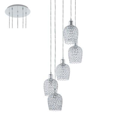 Eglo BONARES 1 94898 Подвесной светильникДлинные 4+<br>Подвес BONARES 1, 5x60W (E27), ?350, H1500, сталь, хром/стекло, хрусталь, хром, прозрачный применяется преимущественно в домашнем освещении с использованием стандартных выключателей и переключателей для сетей 220V.<br><br>S освещ. до, м2: 15<br>Тип цоколя: E27<br>Цвет арматуры: серебристый хром<br>Количество ламп: 5<br>Диаметр, мм мм: 350<br>Высота, мм: 1500<br>MAX мощность ламп, Вт: 60