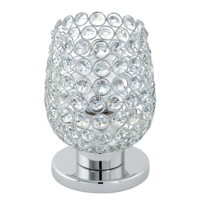 Eglo BONARES 1 94899 Настольная лампаХрустальные<br>Настольная лампа BONARES 1, 1x60W (E27), ?130, H190, сталь, хром/стекло, хрусталь, хром, прозрачный применяется преимущественно в домашнем освещении с использованием стандартных выключателей и переключателей для сетей 220V.<br><br>Тип цоколя: E27<br>Цвет арматуры: серебристый хром<br>Количество ламп: 1<br>Диаметр, мм мм: 130<br>Высота, мм: 190<br>MAX мощность ламп, Вт: 60
