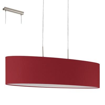 Eglo PASTERI 94904 Текстильный подвесДвойные<br>Подвес PASTERI, 2х60W (E27), 1000х280, никель матовый/текстиль, марсала применяется преимущественно в домашнем освещении с использованием стандартных выключателей и переключателей для сетей 220V.<br><br>S освещ. до, м2: 6<br>Тип лампы: Накаливания / энергосбережения / светодиодная<br>Тип цоколя: E27<br>Количество ламп: 2<br>Ширина, мм: 280<br>MAX мощность ламп, Вт: 60<br>Длина, мм: 1000<br>Высота, мм: 1100<br>Цвет арматуры: серебристый никель