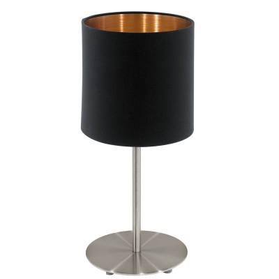 Eglo PASTERI 94917 Текстильный светильникСовременные<br>Настольная лампа PASTERI, 1х60W (E27), ?180, H400, никель матовый/текстиль, черный, медный применяется преимущественно в домашнем освещении с использованием стандартных выключателей и переключателей для сетей 220V.<br><br>Тип цоколя: E27<br>Цвет арматуры: серебристый<br>Количество ламп: 1<br>Диаметр, мм мм: 180<br>Высота, мм: 400<br>MAX мощность ламп, Вт: 60