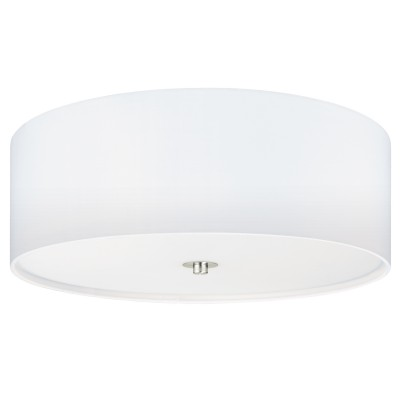 Eglo PASTERI 94918 Текстильный светильникПотолочные<br>Светильник потолочный PASTERI, 3х60W (E27), ?475, H195, никель матовый/текстиль, белый применяется преимущественно в домашнем освещении с использованием стандартных выключателей и переключателей для сетей 220V.<br><br>Установка на натяжной потолок: Да<br>S освещ. до, м2: 9<br>Тип цоколя: E27<br>Количество ламп: 3<br>MAX мощность ламп, Вт: 60<br>Диаметр, мм мм: 475<br>Глубина, мм: 195<br>Цвет арматуры: серебристый