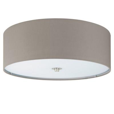 Eglo PASTERI 94919 Текстильный светильникПотолочные<br>Светильник потолочный PASTERI, 3х60W (E27), ?475, H195, никель матовый/текстиль, серо-коричневый применяется преимущественно в домашнем освещении с использованием стандартных выключателей и переключателей для сетей 220V.<br><br>Установка на натяжной потолок: Да<br>S освещ. до, м2: 9<br>Тип цоколя: E27<br>Цвет арматуры: серебристый<br>Количество ламп: 3<br>Диаметр, мм мм: 475<br>Глубина, мм: 195<br>MAX мощность ламп, Вт: 60