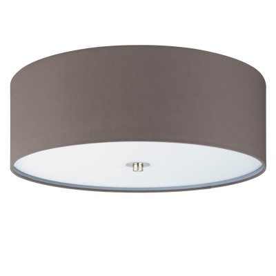 Eglo PASTERI 94922 Текстильный светильникПотолочные<br>Светильник потолочный PASTERI, 3х60W (E27), ?475, H195, никель матовый/текстиль, антрацит-коричневый применяется преимущественно в домашнем освещении с использованием стандартных выключателей и переключателей для сетей 220V.<br><br>Установка на натяжной потолок: Да<br>S освещ. до, м2: 9<br>Тип цоколя: E27<br>Количество ламп: 3<br>MAX мощность ламп, Вт: 60<br>Диаметр, мм мм: 475<br>Глубина, мм: 195<br>Цвет арматуры: серебристый