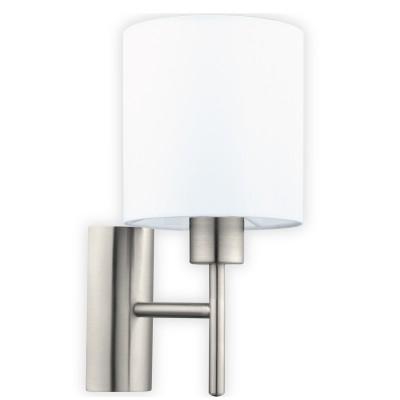 Eglo PASTERI 94924 Текстильный светильник браМодерн<br>Бра PASTERI, 1х60W (E27), L145, H305, A195, никель матовый/текстиль, белый применяется преимущественно в домашнем освещении с использованием стандартных выключателей и переключателей для сетей 220V.<br><br>Тип лампы: Накаливания / энергосбережения / светодиодная<br>Тип цоколя: E27<br>Количество ламп: 1<br>MAX мощность ламп, Вт: 60<br>Глубина, мм: 195<br>Длина, мм: 145<br>Высота, мм: 305<br>Цвет арматуры: серебристый