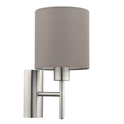 Текстильный светильник бра Eglo 94925 PASTERIсовременные бра модерн<br>Бра PASTERI, 1х60W (E27), L145, H305, A195, никель матовый/текстиль, серо-коричневый применяется преимущественно в домашнем освещении с использованием стандартных выключателей и переключателей для сетей 220V.