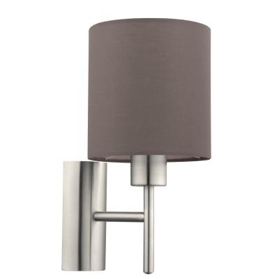 Eglo PASTERI 94927 Текстильный светильник браСовременные<br>Бра PASTERI, 1х60W (E27), L145, H305, A195, никель матовый/текстиль, антрацит-коричневый применяется преимущественно в домашнем освещении с использованием стандартных выключателей и переключателей для сетей 220V.<br><br>Тип лампы: Накаливания / энергосбережения / светодиодная<br>Тип цоколя: E27<br>Цвет арматуры: серебристый<br>Количество ламп: 1<br>Глубина, мм: 195<br>Длина, мм: 145<br>Высота, мм: 305<br>MAX мощность ламп, Вт: 60