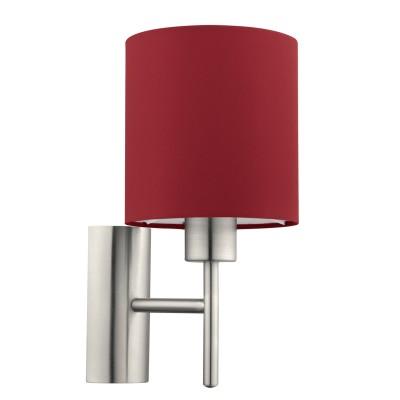 Eglo PASTERI 94928 Текстильный светильник браМодерн<br>Бра PASTERI, 1х60W (E27), L145, H305, A195, никель матовый/текстиль, марсала применяется преимущественно в домашнем освещении с использованием стандартных выключателей и переключателей для сетей 220V.<br><br>Тип цоколя: E27<br>Количество ламп: 1<br>MAX мощность ламп, Вт: 60<br>Глубина, мм: 195<br>Длина, мм: 145<br>Высота, мм: 305<br>Цвет арматуры: серебристый никель