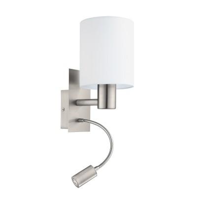 Eglo PASTERI 94929 Текстильный светильник браМодерн<br>Бра PASTERI со Светодиодный подсветкой для чтения, 1х40W (E27),1х2,4W (LED), L150, H380, никель матовый/текстиль, белый применяется преимущественно в домашнем освещении с использованием стандартных выключателей и переключателей для сетей 220V.<br><br>Цветовая t, К: 3000<br>Тип лампы: LED - светодиодная<br>Тип цоколя: E27<br>Количество ламп: 1<br>MAX мощность ламп, Вт: 40<br>Глубина, мм: 195<br>Длина, мм: 150<br>Высота, мм: 380<br>Цвет арматуры: серебристый