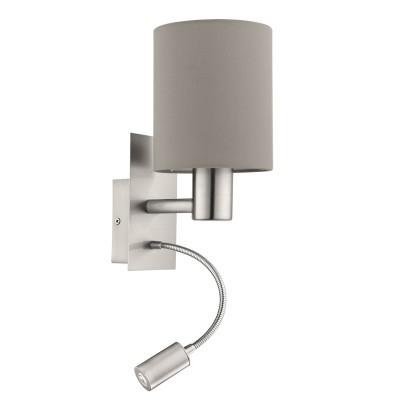 Eglo PASTERI 94931 Текстильный светильник браМодерн<br>Бра PASTERI со Светодиодный подсветкой для чтения, 1х40W (E27), 1х2,4W (LED), L150, H380, никель матовый/текстиль, серо-коричневый применяется преимущественно в домашнем освещении с использованием стандартных выключателей и переключателей для сетей 220V.<br><br>Тип товара: Текстильный светильник бра<br>Цветовая t, К: 3000<br>Тип лампы: LED - светодиодная<br>Тип цоколя: E27<br>Количество ламп: 1<br>MAX мощность ламп, Вт: 40<br>Глубина, мм: 195<br>Длина, мм: 150<br>Высота, мм: 380<br>Цвет арматуры: серебристый