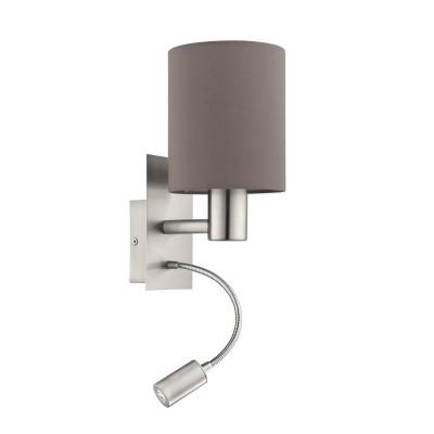 Eglo PASTERI 94933 Текстильный светильник браСовременные<br>Бра PASTERI со Светодиодный подсветкой для чтения, 1х40W (E27),1х2,4W (LED), L150, H380, никель матовый/текстиль, антрацит-коричневый применяется преимущественно в домашнем освещении с использованием стандартных выключателей и переключателей для сетей 220V.<br><br>Цветовая t, К: 3000<br>Тип лампы: LED - светодиодная<br>Тип цоколя: E27<br>Количество ламп: 1<br>MAX мощность ламп, Вт: 40<br>Глубина, мм: 195<br>Длина, мм: 150<br>Высота, мм: 380<br>Цвет арматуры: серебристый