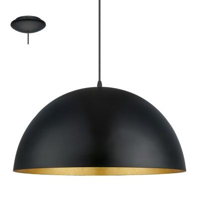 Eglo GAETANO 1 94936 Подвесной светильникОдиночные<br>Подвес GAETANO 1, 1x60W (E27), ?530, H1500, сталь, черный, золотой применяется преимущественно в домашнем освещении с использованием стандартных выключателей и переключателей для сетей 220V.<br><br>S освещ. до, м2: 3<br>Тип цоколя: E27<br>Количество ламп: 1<br>MAX мощность ламп, Вт: 60<br>Диаметр, мм мм: 530<br>Высота, мм: 1500<br>Цвет арматуры: черный, золотой