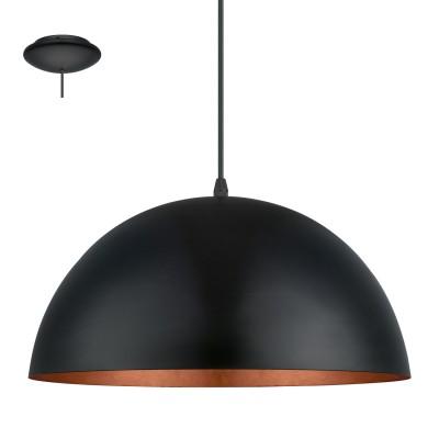 Eglo GAETANO 1 94937 Подвесной светильникОдиночные<br>Подвес GAETANO 1, 1x60W (E27), ?380, H1500, сталь, черный, медный  применяется преимущественно в домашнем освещении с использованием стандартных выключателей и переключателей для сетей 220V.<br><br>S освещ. до, м2: 3<br>Тип цоколя: E27<br>Количество ламп: 1<br>MAX мощность ламп, Вт: 60<br>Диаметр, мм мм: 380<br>Высота, мм: 1500<br>Цвет арматуры: черный, медный