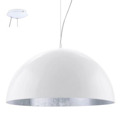 Eglo GAETANO 1 94941 Подвесной светильникОдиночные<br>Подвес GAETANO 1, 1x60W (E27), ?530, H1500, сталь, белый, серебряный применяется преимущественно в домашнем освещении с использованием стандартных выключателей и переключателей для сетей 220V.<br><br>S освещ. до, м2: 3<br>Тип цоколя: E27<br>Количество ламп: 1<br>MAX мощность ламп, Вт: 60<br>Диаметр, мм мм: 530<br>Высота, мм: 1500<br>Цвет арматуры: белый, серебряный