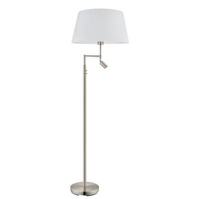 Eglo SANTANDER 94946 Торшер напольныйСовременные<br>Торшер SANTANDER со светодиодн. лампой д/чтения, 1x60W (E27); 1х2,1W (LED), H1530, никель/белый применяется преимущественно в домашнем освещении с использованием стандартных выключателей и переключателей для сетей 220V.<br><br>Цветовая t, К: 3000<br>Тип лампы: LED - светодиодная<br>Тип цоколя: E27<br>Количество ламп: 1<br>MAX мощность ламп, Вт: 60<br>Диаметр, мм мм: 500<br>Высота, мм: 1530<br>Цвет арматуры: серебристый